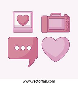 set of camera photographic with speech bubble and heart