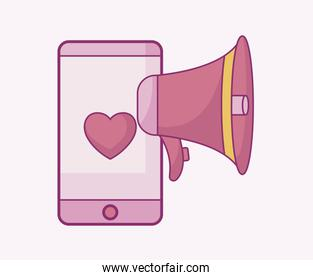 smartphone device with heart and megaphone icon