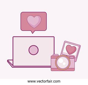 set of camera photographic with laptop and speech bubble