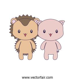 cute piggy with porcupine animals isolated icon