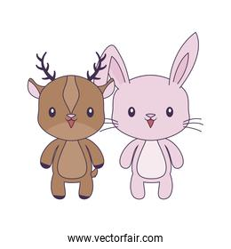 cute rabbit with reindeer animals character