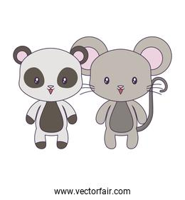 cute mouse with panda bear animals isolated icon