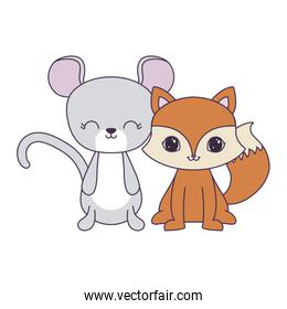 cute mouse with fox animals isolated icon
