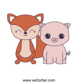 cute piggy with fox animals isolated icon