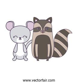 cute mouse with raccoon animals isolated icon