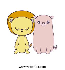cute piggy with lion animals isolated icon