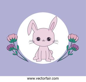 cute rabbit in frame circular with flowers