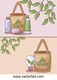 paper bags with set icons ecological