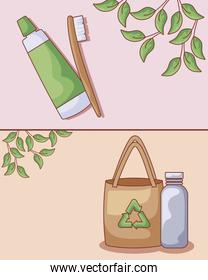 cream tube with toothbrush and icons ecological