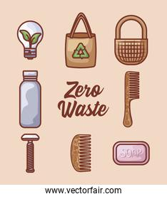 bag paper with set icons ecological