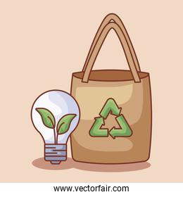 paper bag with light bulb ecological
