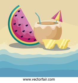 summer beach with watermelon and set icons