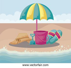 summer beach with umbrella and set icons