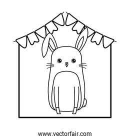 cute rabbit animal with garlands party hanging