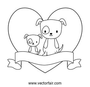 cute dogs with heart shape and ribbon