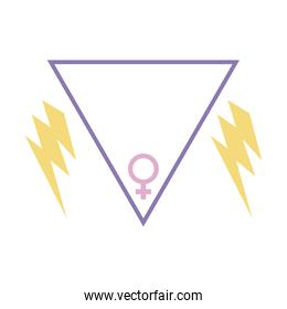 gender female symbol in triangle with thunderbolts