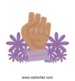 hand human fist with flowers decoration