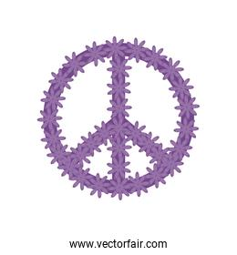 peace and love symbol with flowers