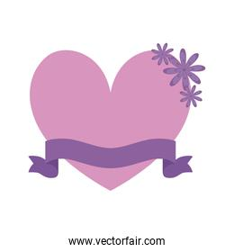 heart with ribbon and flowers isolated icon