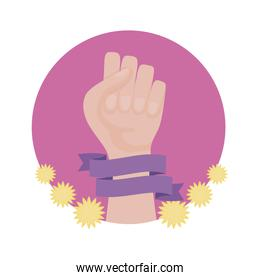 hand human fist in frame circular with flowers decoration