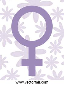 gender female symbol with pattern of flowers
