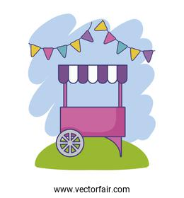 carnival kiosk with parasol and garlands hanging