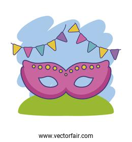 mask carnival with garlands hanging decoration