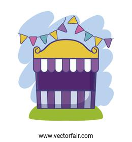 circus tent carnival with garlands hanging