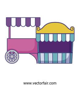 carnival kiosk with parasol and tent circus