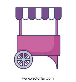 carnival kiosk with parasol isolated icon