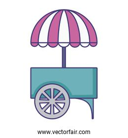 carnival kiosk with umbrella isolated icon