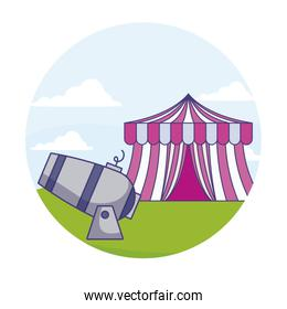circus tent carnival with cannon in frame circular