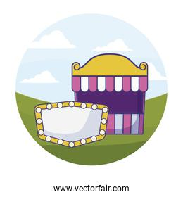 circus tent carnival with label in frame circular
