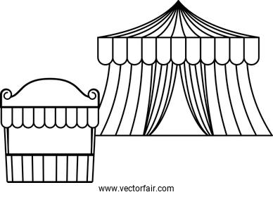 circus tents carnival isolated icon
