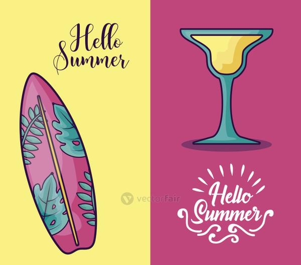 summer holiday poster with surfboard and cocktail