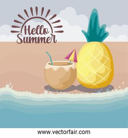 summer beach with cocktail of coconut and pineapple