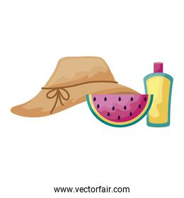hat female with watermelon and bottle of blocker