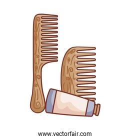 hair combs wooden with tube bottle