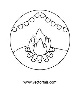 campfire flame with garlands in frame circular, line style icon