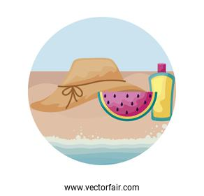 hat female with watermelon and bottle of blocker in beach