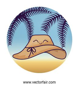 hat female kawaii with tropical palm in frame