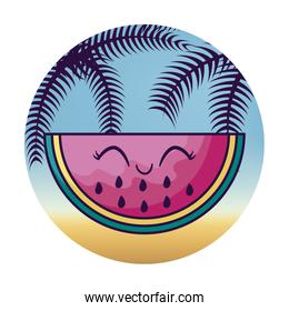 watermelon kawaii with tropical palm in frame