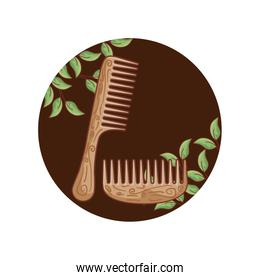 set of hair combs wooden in frame