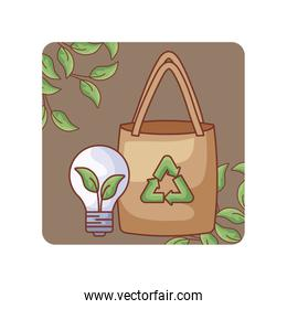 paper bag with light bulb ecological in frame