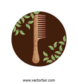 hair comb wooden with leafs in frame