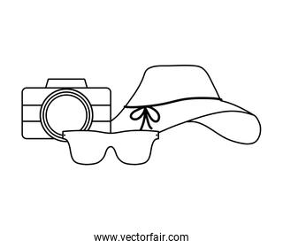 hat female with sunglasses and camera