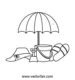 hat female with umbrella and icons vacation