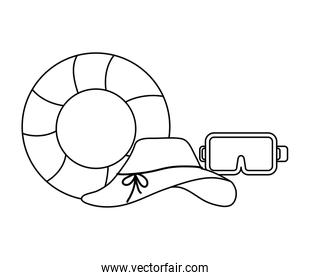 female  hat with float and snorkel over white