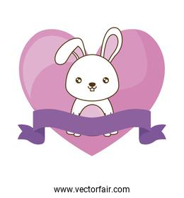 cute rabbit with ribbon and heart
