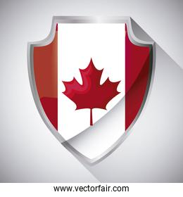 flag of canada in shield shape